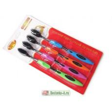Бамбуковые зубные щетки с турмалином 4 шт.  | Био Маркет